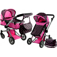 Kočík pre bábiky ALICA hlboký/športový 2v1 ružovo-čierny