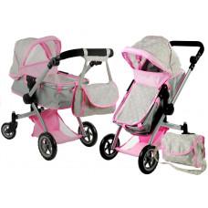 Kočík pre bábiky ALICA hlboký/športový 2v1 sivo-ružový