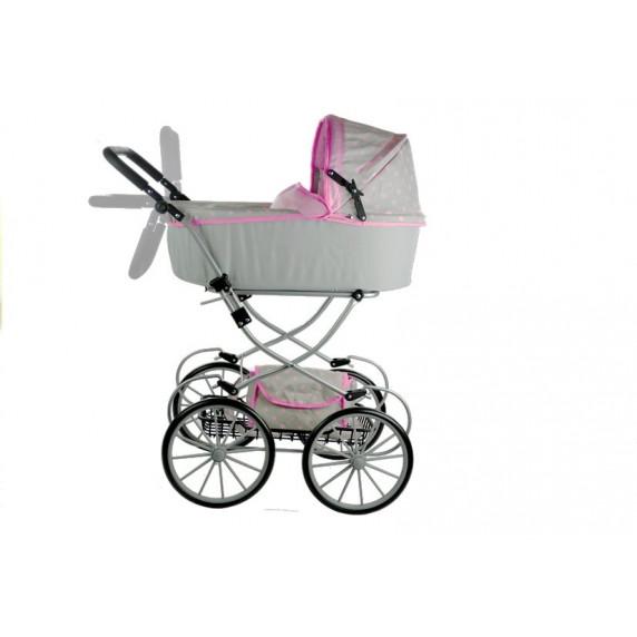 Detský kočík pre bábiky ALICA RETRO sivo-ružový + taška