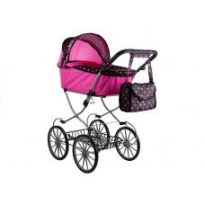 Detský kočík pre bábiky ALICE RETRO ružovo-čierny + taška Preview