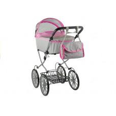Detský kočík pre bábiky ALICE RETRO sivo-ružový + taška Preview