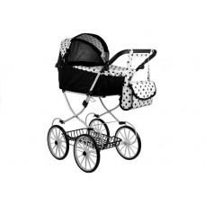 Detský kočík pre bábiky ALICE RETRO čierno-biely + taška Preview