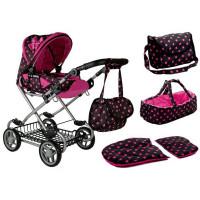 Detský kočík pre bábiky ALICA RETRO New ružovo-čierny + taška