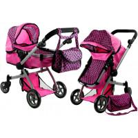 Kočík pre bábiky ALICA hlboký/športový 2v1 ružový