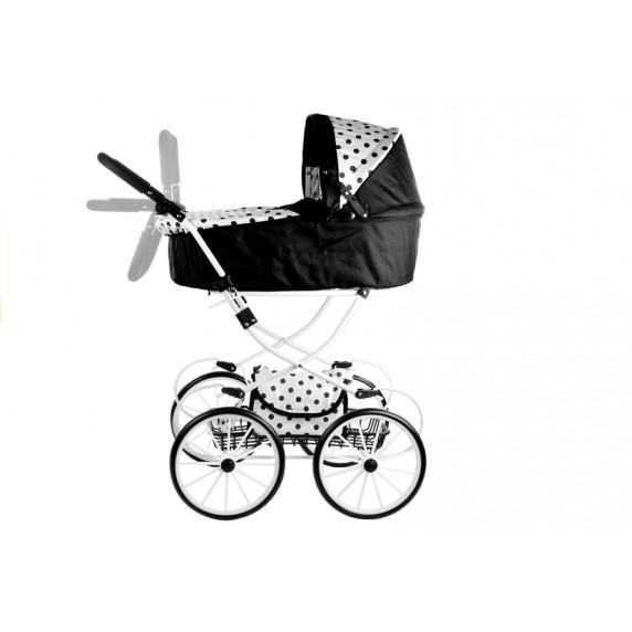 Detský kočík pre bábiky ALICA RETRO čierno-biely + taška