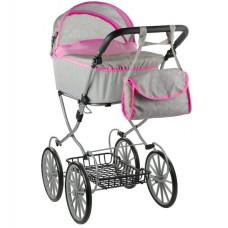 Detský kočík pre bábiky ALICA RETRO sivo-ružový + taška Preview