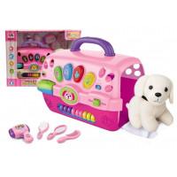 Salón krásy pre psa s nosičom Inlea4Fun MUSIC PET HOUSE - ružové