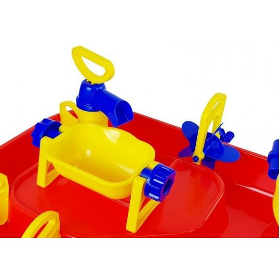 Pieskovisko na stolíku 2v1 Inlea4Fun BATH WORLD - červené/žlté