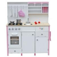 Detská drevená kuchyňa Inlea4Fun MERYS s príslušenstvami - ružová/biela