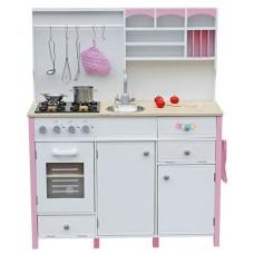 Inlea4Fun detská drevená kuchyňa MERYS s príslušenstvami - ružová/biela Preview