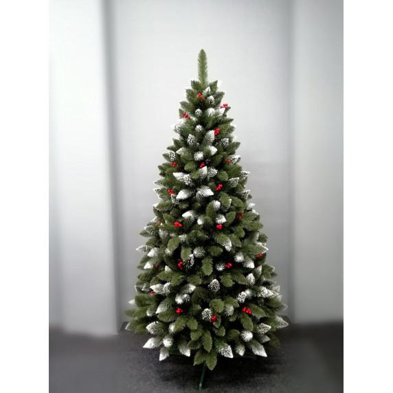 Inlea4Fun zasnežený vianočný stromček IZA 220 cm s červenými bobuľami + stojan