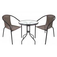 Záhradná zostava stôl + 2 stoličky InGarden HERKULES II - sivá
