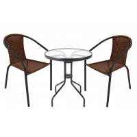 Záhradná zostava stôl + 2 stoličky InGarden HERKULES II - tmavohnedá