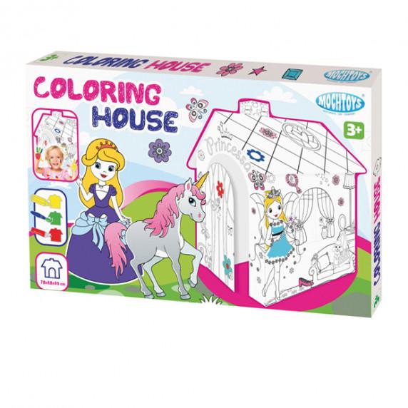 MOCHTOYS Coloring House 11122 Papierový domček - omaľovánky Princezná