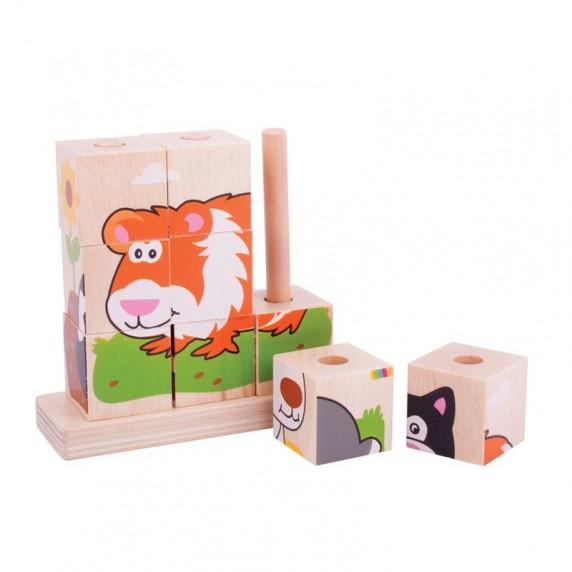 Drevené obrázkové nasadzovacie kocky Bigjigs - zvieratá