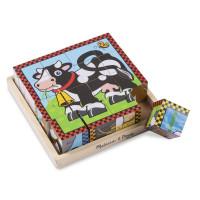 Drevené obrázkové kocky 16 ks Melissa & Doug - farma