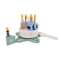 Detská drevená krájacia torta s melódiou Magni - modrá