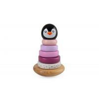 Drevená pyramída tučniak Magni - ružová