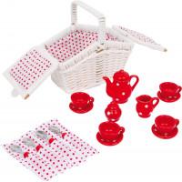 Detská čajová súprava s piknikovým košom - červená bodkovaná