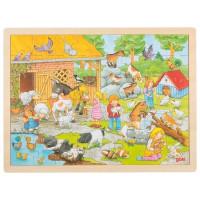 Drevené puzzle Goki - farma