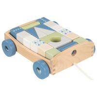 Drevený vozík s farebnými kockami 20 kusov Goki - modrý