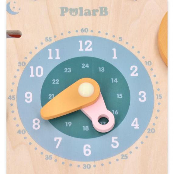 Drevená náučná tabuľka - hodiny + kalendár VIGA PolarB