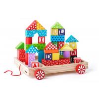 Drevený vozík s farebnými kockami 35 ks Woody