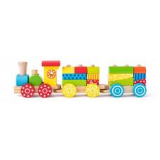 Drevený vláčik s farebnými drevenými kockami Woodyland Preview