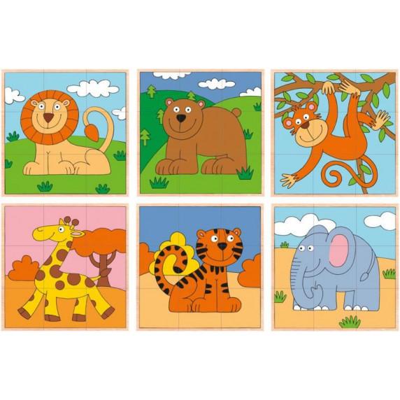 Drevené obrázkové kocky 9 ks WOODYLAND - exotické zvieratká