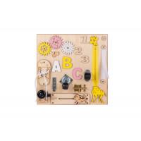 Edukačná tabuľa pre deti 30 x 30 cm MT03 - naturálna/žltá