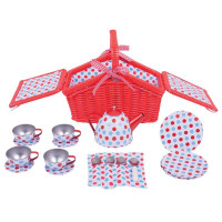 Detská čajová súprava s piknikovým košíkom Bigjigs - biela bodkovaná