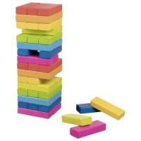 Jenga farebná drevená spoločenská hra dúhová 48 ks GOKI