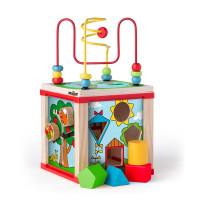 Drevená edukačná kocka s labyrintom WOODYLAND Didactic Cube