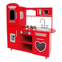 Detská drevená kuchynka BINO Play Kitchen - červená
