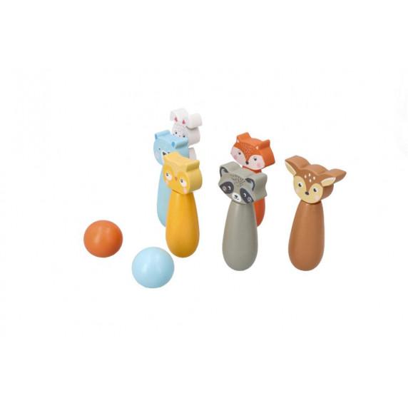 Drevený detský bowling ADAM TOYS - lesné zvieratká