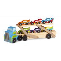 Drevený kamión na prepravu pretekárskych autíčok Melissa & Doug