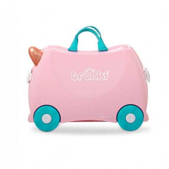 TRUNKI cestovný kufrík a odrážadlo Plameniak FLOSSI