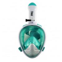 Celotvárová maska na šnorchlovanie MASTER L-XL - biela-tyrkysová