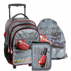 PASO školský set CARS 2 - školská taška na kolieskach + peračník s príslušenstvom + vak na telocvik