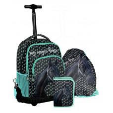 PASO školský set KONÍK - školská taška na kolieskach + peračník s príslušenstvom + vak na telocvik