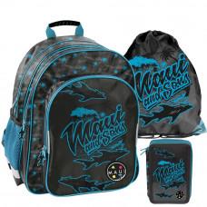 PASO školský set MAUI SHARKS - školská taška + peračník + vak na telocvik