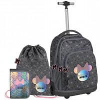 Školský set PASO Minnie Mouse školská taška na kolieskach + peračník + vak na telocvik
