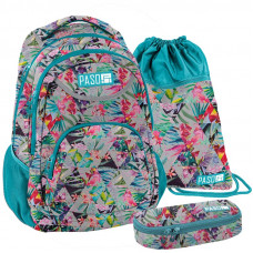 PASO školský set FLOWER - školská taška + peračník + vak na telocvik