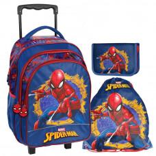 PASO školský set SPIDERMAN školská taška na kolieskach + peračník s príslušenstvom + vak na telocvik