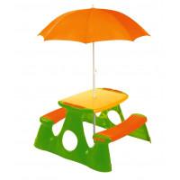Piknikový stolík pre deti so slnečníkom - oranžovo / zelený Inlea4Fun