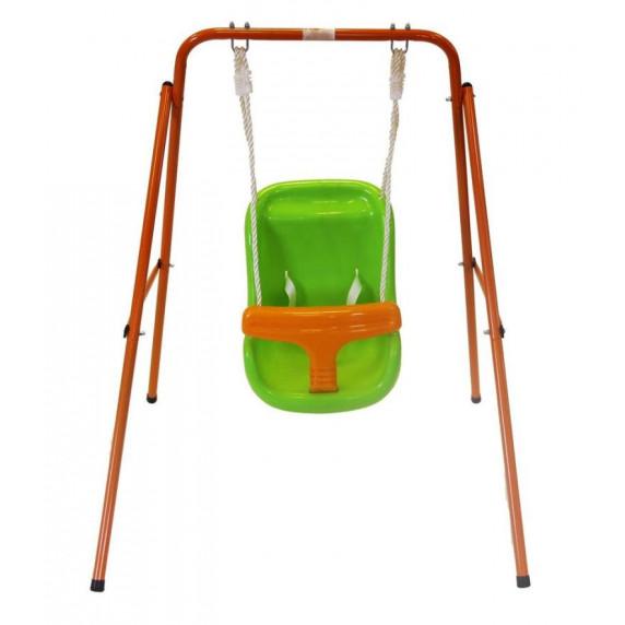 Hojdačka s kovovou konštrukciou oranžová-zelená Inlea4Fun