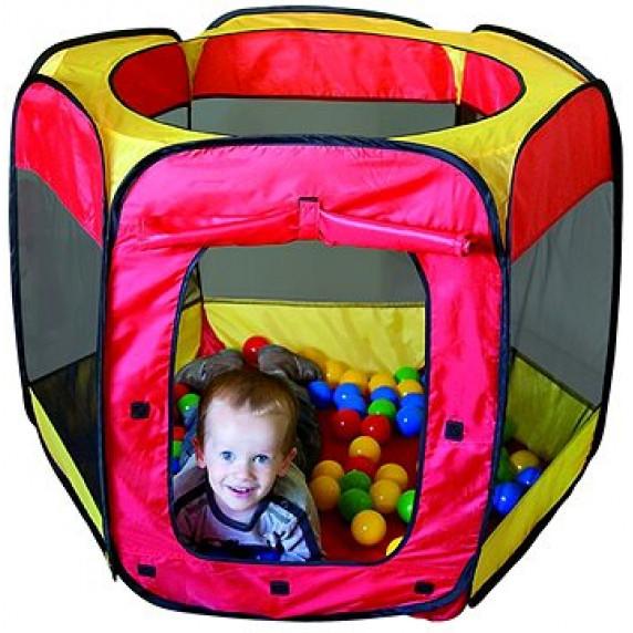 Detský hrací stan s loptičkami - červený/žltý Inlea4Fun