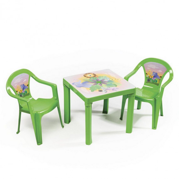 2 stoličky + 1 stolík  - Zelená Inlea4Fun