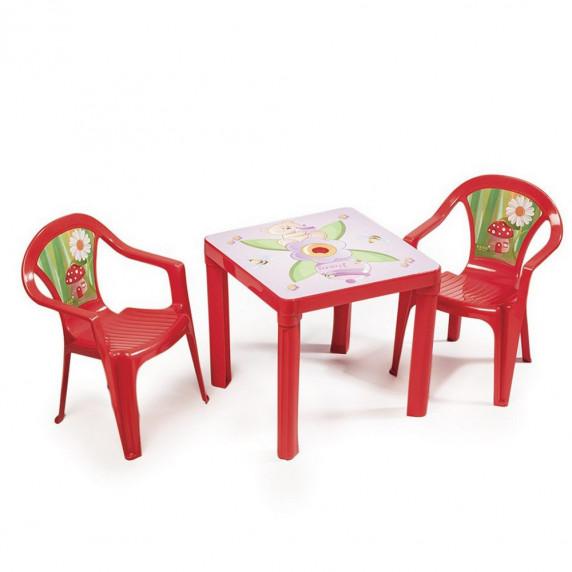 2 stoličky + 1 stolík  - Červený Inlea4Fun T02630-T02631
