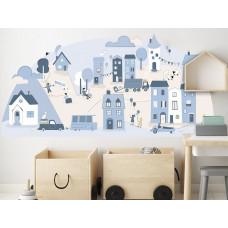Dekorácia na stenu LIGHT BLUE SMALL TOWN 178  x 86 cm  - L Preview